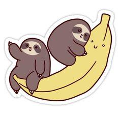 """Sloths and Giant Banana"" Stickers by SaradaBoru | Redbubble"
