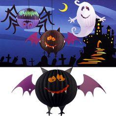 Halloween lámpara de papel linternas murciélago decoraciones divertidas LED huertos familiares