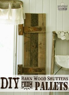DIY: Barn Wood Shutters from Pallets - super easy to build shutters with tutorial!