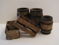 Set of  two crates and three barrels, in twelfth scale, a dollshouse miniature. $17.50, via Etsy.