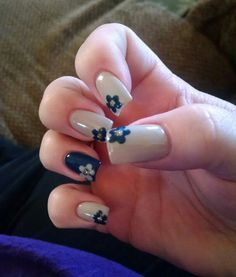 Navy & beige nails with flower art