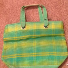 """GREN AND YELLOW SHOPPERS TOTE BAG Green and yellow shoppers tote bag. Jean padded handles, attached key clip. """"""""13 x 16"""" Bags Totes"""