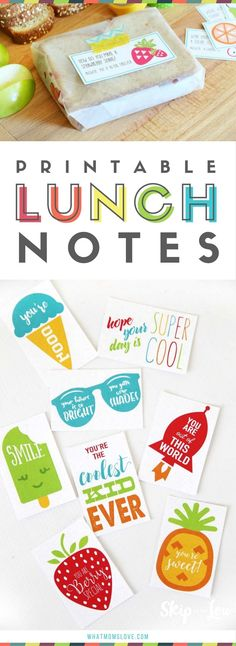 Printable Lunch Notes for kids school lunch box | Funny jokes and sweet encouragement for girls and boys, kindergarten to teens | Lots of free printables!