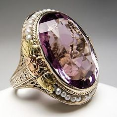 Antique Natural Amethyst & Seed Pearl Cocktail Ring 14K Gold