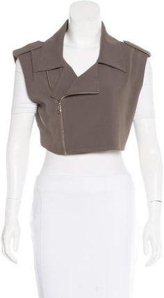 a0f60764f806a1 Alasdair Cropped Moto Vest Point Collar