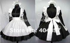 Black Cosplay Sissy maid Satin dress uniform Custom-made