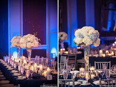 Blue Lighting w/Tall Hydrangea Floral Centerpiece - California Weddings: http://www.pinterest.com/fresnoweddings/