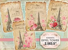 Digital scrapbooking old paper pack.  Set of 1 sheet  Set of 48 Paris Eiffel Tower backgrounds.    This pack includes:  1 sheets with 4 vintage paper backgrounds 3.5x2.5 inches    They are best illustrations for your scrapbooing project, invitations, ACEO, ATC, decoupage, cardmaking or other beautiful crafts, altered art and mixed media projects.    Every collage sheet is 8,5x11 inches on a 300 dpi jpeg file. If you need it as PDF, please convo me.    The image is on a white background…