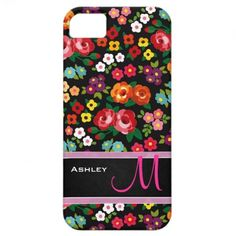 Colorful & Lovely Flowers with Monogram design | iPhone 5 Case
