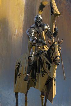 m Fighter Plate Armor Helm Cloak Banner Horseback barding Castle ArtStation by Pierre Bertin lg Armadura Medieval, Medieval Armor, Medieval Fantasy, Armor Concept, Concept Art, Fantasy Character Design, Character Art, Dcc Rpg, Templer