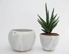White geometric rock pot with yellow green and by NatalieStrachan, £20.00