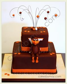 Virginia Tech Groom' Cake - A picture of this cake design was email to me by the bride.  Mascot was made of fondant mixed with tylose.