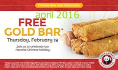 Panda Express coupons & Panda Express promo code inside The Coupons App. Free chicken egg roll the at Panda Express April Free Printable Coupons, Free Coupons, Free Food Today, Chicken Egg Rolls, Free Chickens, Money Saving Mom, Express Coupons, New Year Celebration, Chinese Restaurant