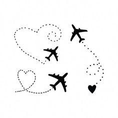 Airplane Tattoo / Black Heart Tattoo / Planes Temporary Tattoo / Adventure Vacation Tattoo For Coupl - Travel Couple Couple Tattoos, Girl Tattoos, Tattoos For Women, Hot Tattoos, Black Heart Tattoos, Tattoo Black, Coeur Tattoo, Aircraft Tattoo, Non Permanent Tattoo