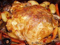 Pui la cuptor cu legume si ciuperci Romanian Food, Romanian Recipes, Turkey, Chicken, Meat, Cooking, Anna, Memories, Blog