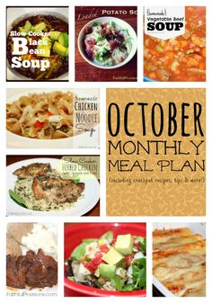 Monthly Meal Plan for October.  Full of my favorite fall, soup and crock pot recipes | Faithful Provisions
