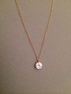 Shining Diamond Necklace, Cubic Zirconia Gold Filled Necklace, Simple CZ Necklace, April Birthstone, Solitaire Necklace