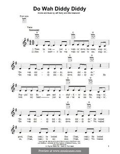 Do Wah Diddy Diddy (Manfred Mann): For ukulele by Ellie Greenwich, Jeff Barry Ukulele Songs Beginner, Guitar Chords For Songs, Acoustic Guitar Lessons, Music Guitar, Acoustic Guitars, Violin, Uke Songs, Music Chords, Ukulele Tabs