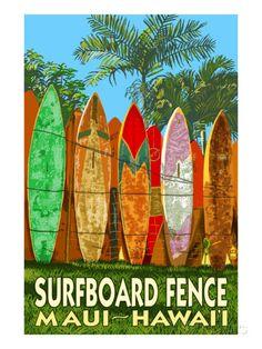 オールポスターズの ランターン・プレス「Maui, Hawaii - Surfboard Fence」ポスター