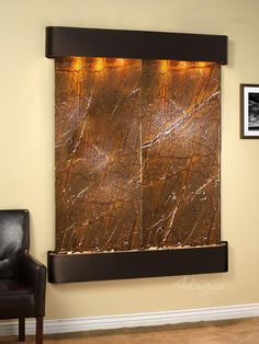 Adagio Fountains Majestic River Natural Stone/Metal Wall Fountain with Light Finish: Rustic Copper, Stone: Rainforest Brown Marble Outdoor Wall Fountains, Indoor Fountain, Water Fountains, Table Fountain, Fountain Square, Fountain Ideas, Fountain Design, Outdoor Flooring, Outdoor Walls