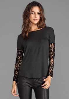 Terrible Beauty Lace Top in Charcoal/Black