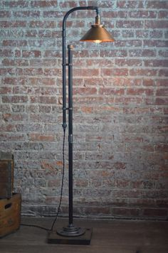 Industrial Floor Lamp - Copper Shade - Industrial Furniture - Machine Age - Modern Floor Light - Reading Lamp