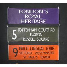Coloured London Bus Special Destination Blind - Tottenham Court Rd - Euston - Russell Square - Black - Pedlars Friday Vintage