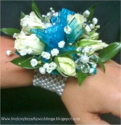 White Spray Roses & Babies Breath With Flower Accessory On A Pearl Bracelet