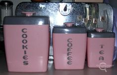 Vintage canisters - I have this set, but have 4 of them in FLOUR< SUGAR< TEA and COFFEE--Linda