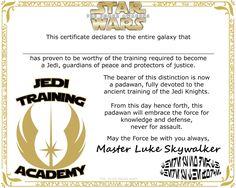 The Star Wars Mom: Star Wars Jedi Training Academy Certificate Free Printable