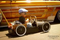 When he's ready to upgrade his red wagon rat rod. I'm digging it :-)