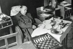 The dead Alekhine, as he was found in his hotel room. 1946.