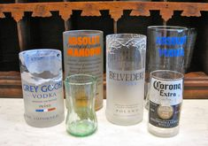 Repurposed Bottles Candles | ... bar glasses that are repurposed from liquor, coke, and beer bottles