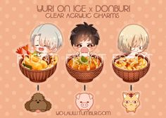Yuri on Ice x Donburi Clear Acrylic Charms  #yurionice #victornikivorof #katsukiyuuri #yuriplisetsky