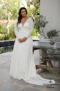 Curvy Enchanting-Plus size wedding gowns Seline by studio levana plus size all lace wedding dress with an A line skirt and a gental belt and long lace sleeves. Wedding Gown Images, Maggie Sottero Wedding Dresses, Long Sleeve Wedding, Wedding Dress Sleeves, Lace Sleeves, Gown Wedding, Wedding Pictures, A Line Bridal Gowns, Plus Size Wedding Gowns