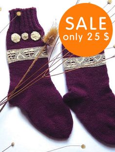 Lace socks Christmas purple Socks with cream by GrandmasWarmYarn, $25.00