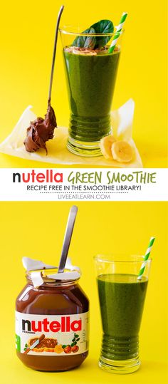 This healthy Nutella Green Smoothie recipe is a healthy vegetarian breakfast idea that will satisfy your sweet tooth with tons of hidden veggies. Whip it up as an on-the-go meal or snack that will treat your taste buds (but also your body!). Your whole family is guaranteed to like this one. // Live Eat Learn