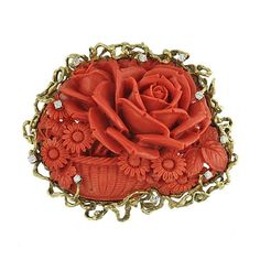 Acanthus Antiques - Vintage Large Carved Coral Cameo Brooch 18K Gold Bezel with Diamonds