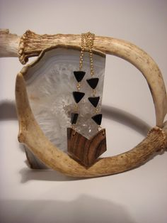 Wooden chevron necklace zebrawood with black onyx by SmallAndQuiet, $50.00
