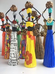 African art doll handmade Africa bookshelf decor - Tribal art African home decor Painted female 10 inch figure African Dolls, African Art, Paper Dolls, Art Dolls, African Figurines, Talisman, African Home Decor, Ethnic Decor, Newspaper Crafts