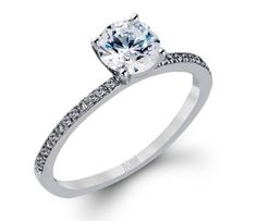 Elegant solitaire diamond engagement ring. White Gold. Zeghani ZR260 #seneedhamjewelers #loganutah