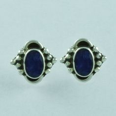 Abstract Design Real 925 Sterling Silver Sapphire Agat Stone Studs Earring E3504 #SilvexImagesIndiaPvtLtd #Stud