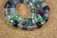 Flourite Hand Carved Barrel Beads - Purple and Green Transparent Beads, 16 inch strand