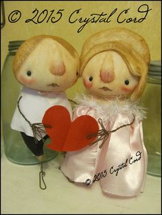 CUSTOM OrDER for CINDY Whimsical valentine couple by emsprims