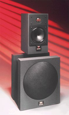 Celestion's SL6000 subwoofer, seen here beneath an SL600, had no cabinet and reached low, but needed an electrical equalisation network
