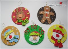 CD Crafts - See Over 130 Ideas and Walkthroughs - ChecoPie Christmas Ornaments To Make, Felt Ornaments, Christmas Art, Christmas Projects, Christmas Decorations, Cd Crafts, Foam Crafts, Crafts For Kids, Theme Noel