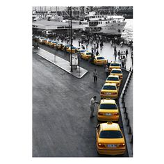 Taxi photography  gray and yellow  decor istanbul by gonulk #homedecor #walldecor #photography #walldecorations #taxi #walldecorideas #yellow #WallArtPrints #prints #istanbulphotography