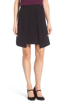 Halogen® Pleat Detail A-Line Skirt (Regular & Petite) available at #Nordstrom