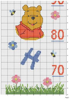Solo Patrones Punto Cruz (pág. 204)   Aprender manualidades es facilisimo.com Cat Cross Stitches, Cross Stitching, Winnie The Pooh, Height Chart, Cross Stitch Boards, Couture, Crochet, Kids Rugs, Knitting