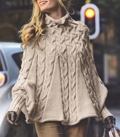 Aran Cabled Poncho with High Collar and Cuffs - S/M M/L - Knitting Pattern in Crafts, Knitting, Patterns | eBay